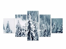 5 Pieces Free Shipping Canvas Print Snow Forest And Mountains Painting On Wall Art Picture Home Decor Framed