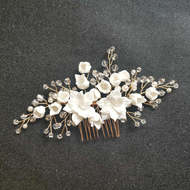 SLBRIDAL Handmade Crystal Rhinestone Simulated Pearls Ceramic Flower Bridal Wedding Hair Comb Hair Pins Stickers Women Jewelry