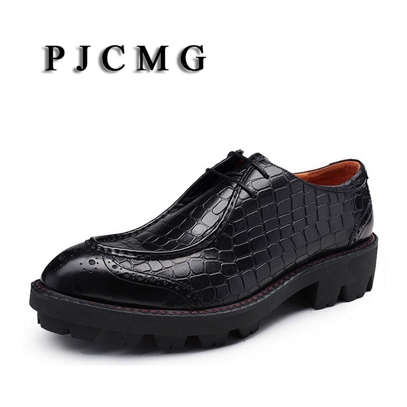 PJCMG New Fashion Crocodile Design Handmade Genuine Leather Lace Up Pointed Toe Thick Soles Business Dress