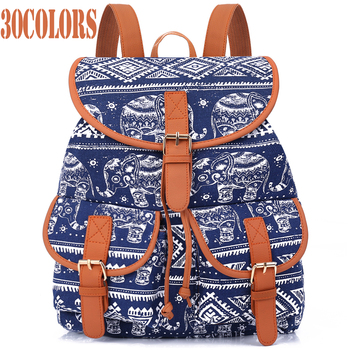 Sansarya New 2018 School Bag Bohemian Vintage Women Backpack Drawstring Printing Canvas Bagpack Sac a Dos Femme Rucksack Female