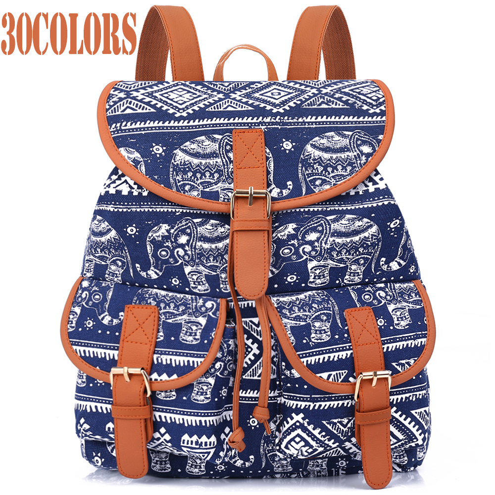 Sansarya New 2018 School Bag Bohemian Vintage Women Backpack Drawstring Printing Canvas Bagpack Sac A Dos Femme Rucksack Female