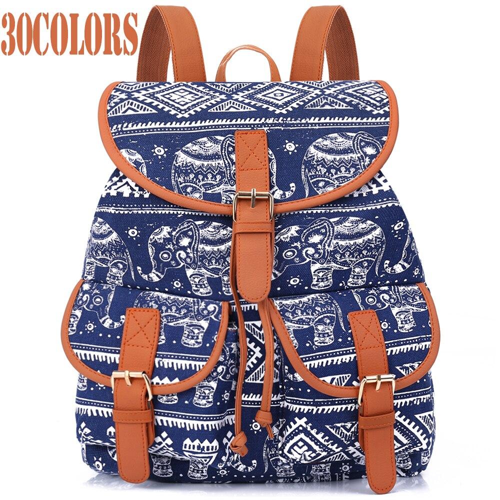 Sansarya novo 2018 saco de escola boêmio vintage feminino mochila com cordão impressão lona bagpack sac a dos femme feminino