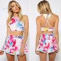 Summer Style Sexy Women's Jumpsuits Printed Playsuits Summer Loose Ladies Rompers 2 Piece Crop Top And Shorts Overalls Pant