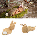 2015 New Baby accessories Handmade Crochet lovely Baby Rabbit hat and cover Newborn photography props Animal Costume Set