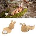2015 Novos acessórios Do Bebê Handmade Crochet Bebê lindo chapéu de Coelho e cobrir a fotografia Newborn adereços Set Traje Animal