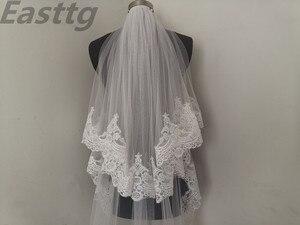 Image 2 - Echte Foto Wit/Ivoor Hoge Kwaliteit 2 T Lace Edge 3M Kathedraal Bruiloft Sluier Met Kam Bridal Veils accessoires Velos De Novia