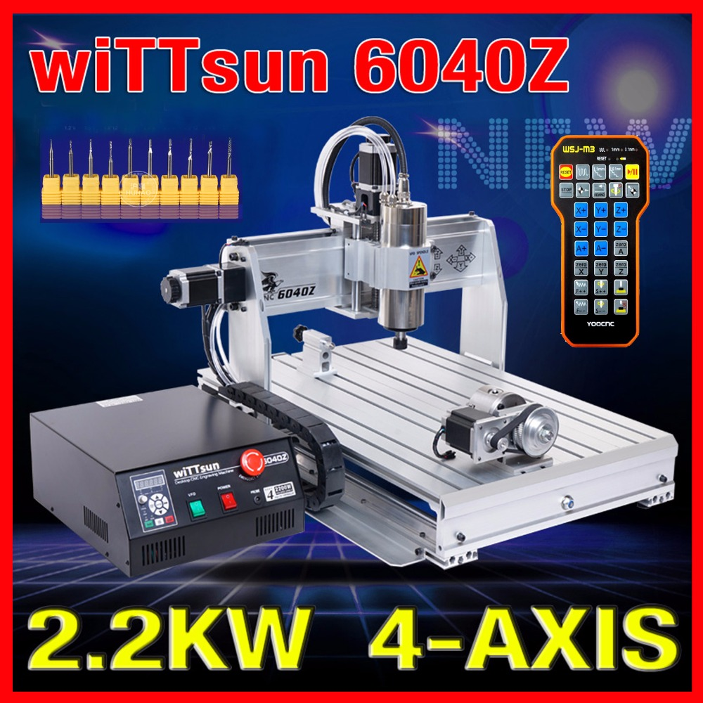 USB ! CNC 6040 4 Axis 2.2KW CNC Router Wood Carving Machine Woodworking Milling Engraving Machine Cnc Engraver Mach3 Control+bit