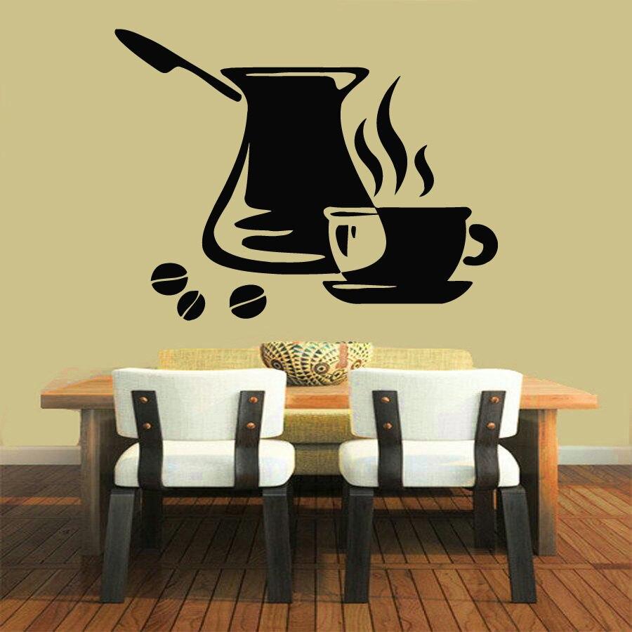 Coffee Shop Vinyl Wall Decal Fresh Coffee Shop Time Cezve Kitchen ...