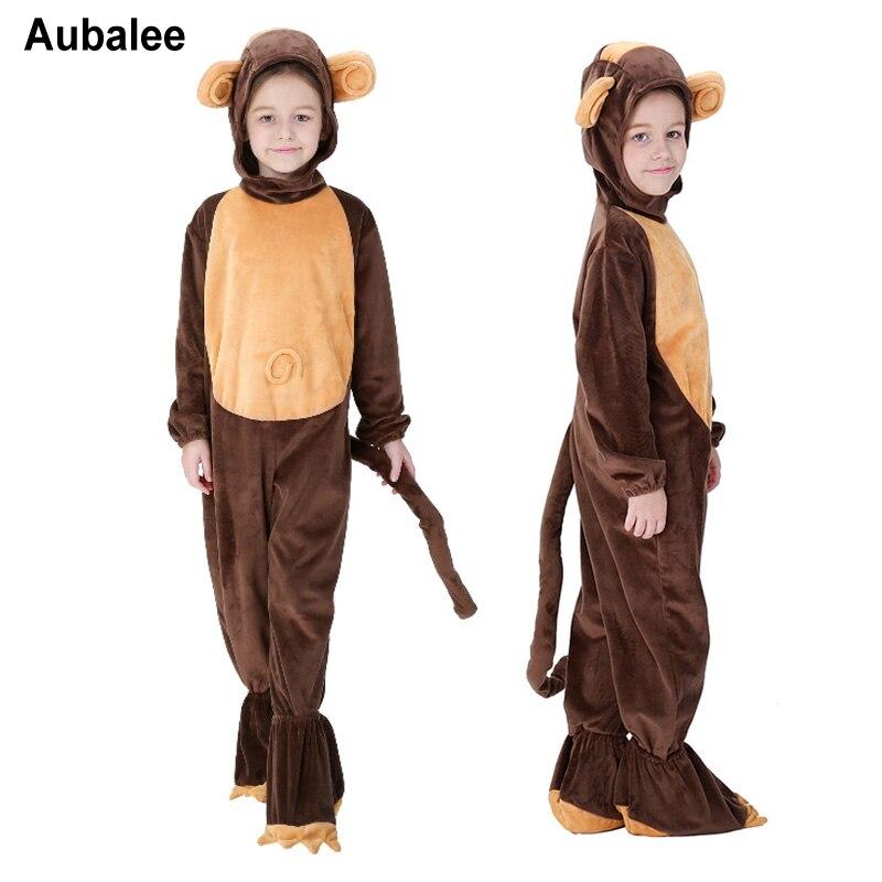 Children Animal Onesie Monkey Pajamas Kids Halloween Cosplay Costume For Girls Boys Cute Anime Cartoon Pijama Sleepwear 3-10Y