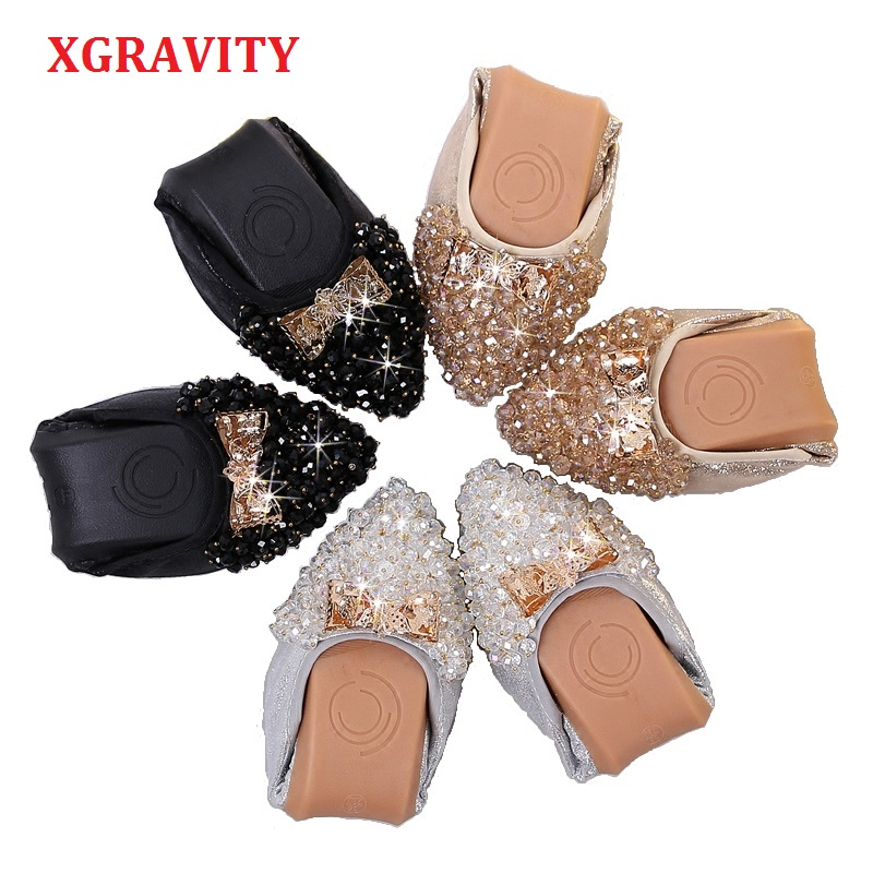 XGRAVITY New Crystal Flats Ballet Flat Shoes Rhinestone Women Spring Autumn Butterfly Pointed Toe Gold Black Shoes Loafers C269