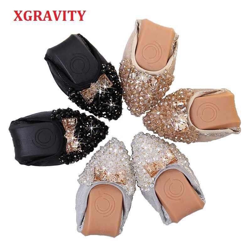 Xgravity Mới Tinh Bãi Ballet Flat Ren Nữ Mùa Xuân, Mùa Thu Bướm Mũi Nhọn Vàng Đen Giày Cho Nữ C269