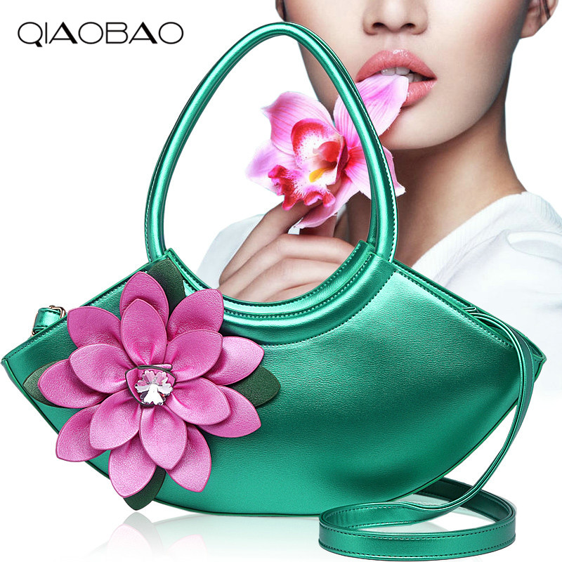 QIAOBAO 2018 New Messenger bag flowers package diamond single shoulder hand tide package Half Moon bag Quality Leather Bag 2016 new boston package flowers hand printed shoulder messenger bag woman handbag