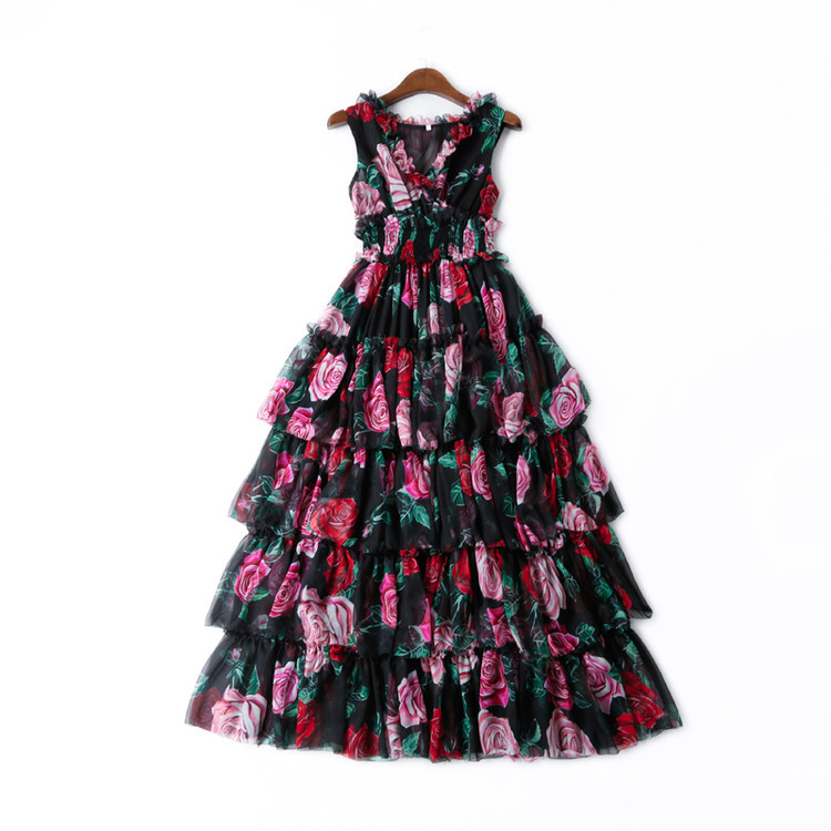 a233379076f22 Top Quality Designer Dress 2019 Spring Summer Party Long Dresses Women  V-Neck Beautiful Rose Flower Print Sleeveless Maxi Dress