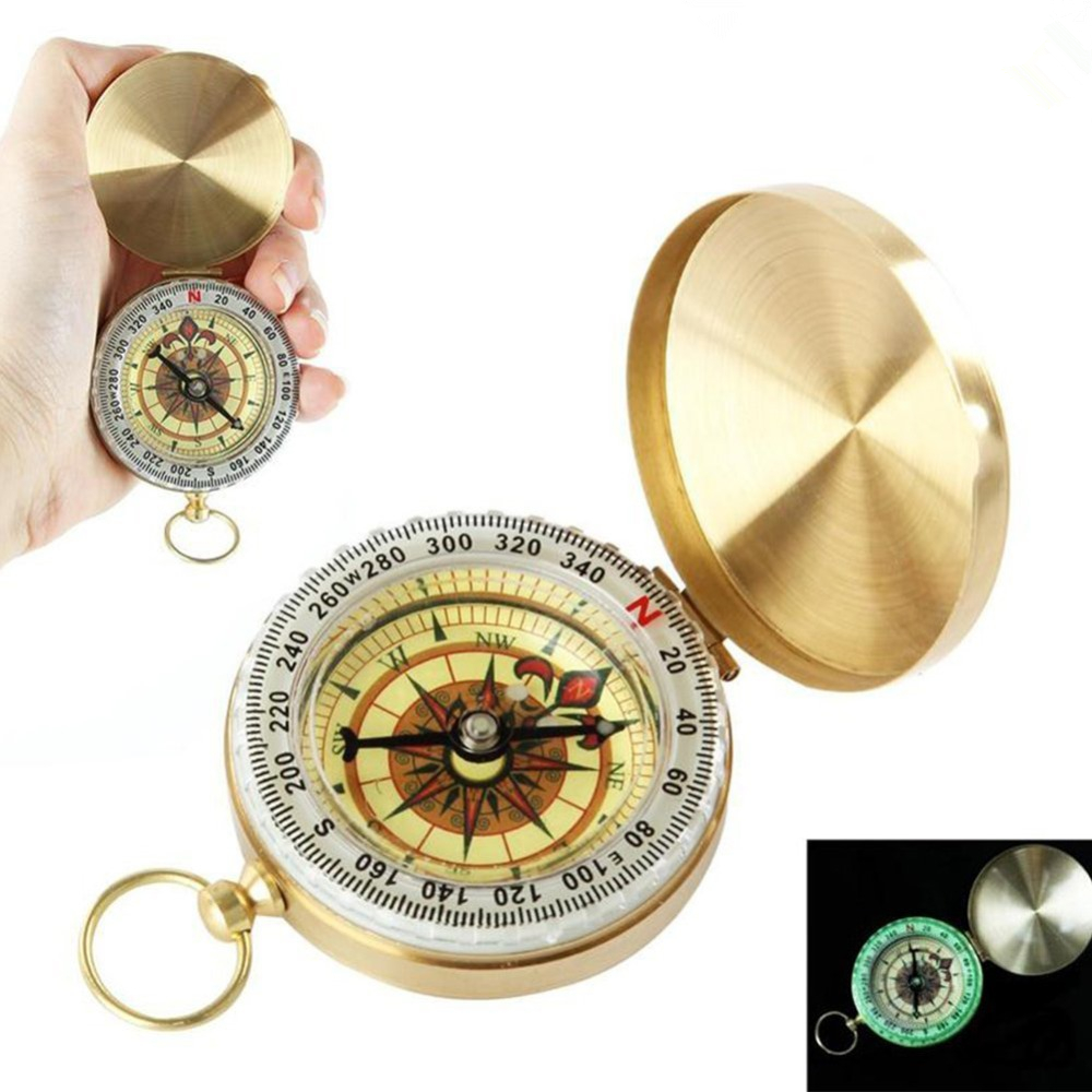 Classic copper Clamshell Compass portable Waterproof Luminous Compass Night vision Camping Hiking Hunting Gear Survival Gear