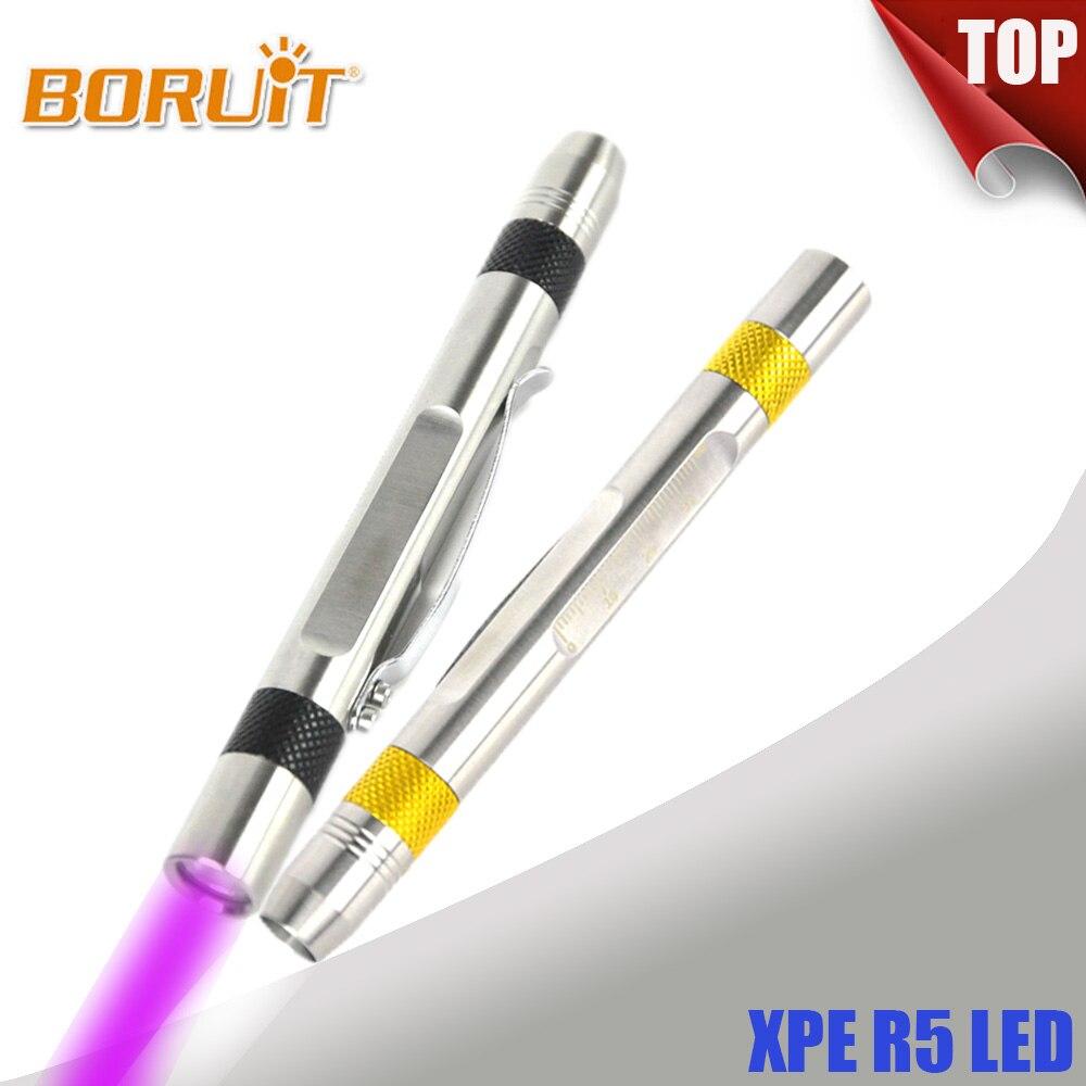 BORUIT 365nm UV LED Flashlight Torch Ultra Violet Light With Ruler Portable Lantern For Marker Checker Detection AAA Penlight