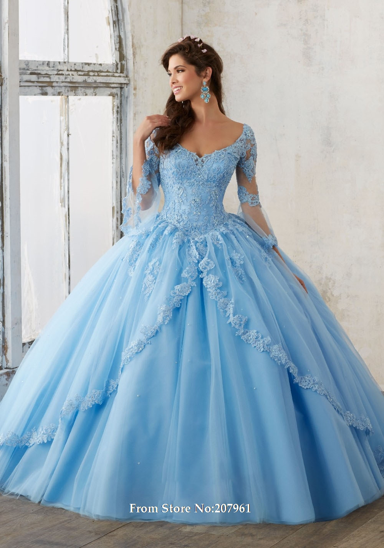 Blue Debutante Dresses 2017 Long Sleeve Quinceanera ...