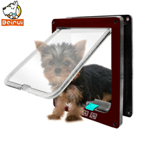 4 Ways Small Dog Cat Door Lockable Magnetic Lockable Dog Safe Entry Frame Brown White Colors