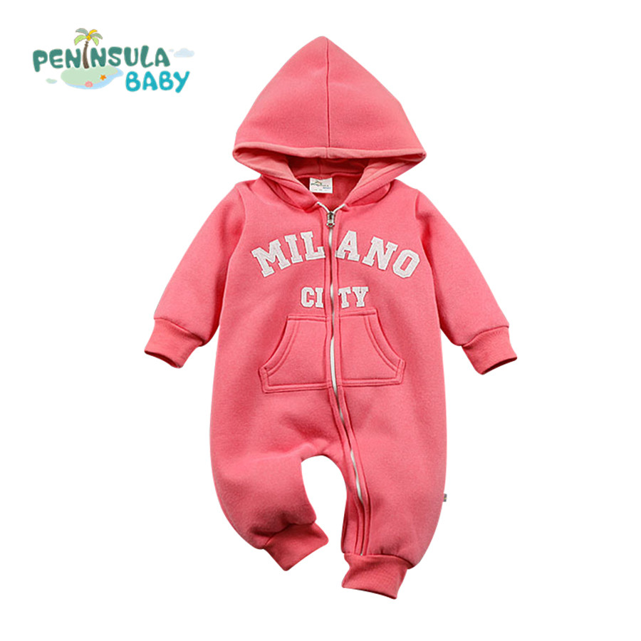 Letter Baby Rompers Toddler Boys Girs Clothing Infant Hooded Cotton Costumes For Kid Winter Thicken Warm Outerwear winter warm thicken newborn baby rompers infant clothing cotton baby jumpsuit long sleeve boys rompers costumes baby romper