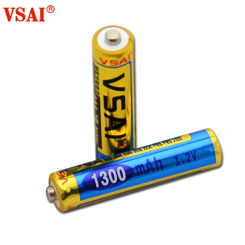 2pcs/lot VSAI <font><b>AA</b></font> <font><b>1.2V</b></font> <font><b>1300mAh</b></font> Ni-MH <font><b>Rechargeable</b></font> <font><b>Battery</b></font> For Microphone Remote Control image