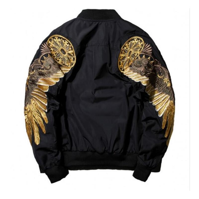Hommes Automne Veste Broderie Or Aigle Ailes Stand Col Bomber Veste De Mode Outwear Hommes Manteau de Veste