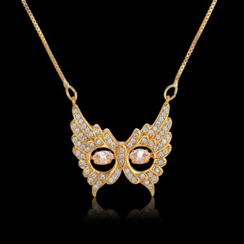 Owl Necklace Flashing Eye Rhinestone Pendant Rose Gold Women Sweater Chain Zirconia Coker Necklaces & Pendants Statement Jewelry image