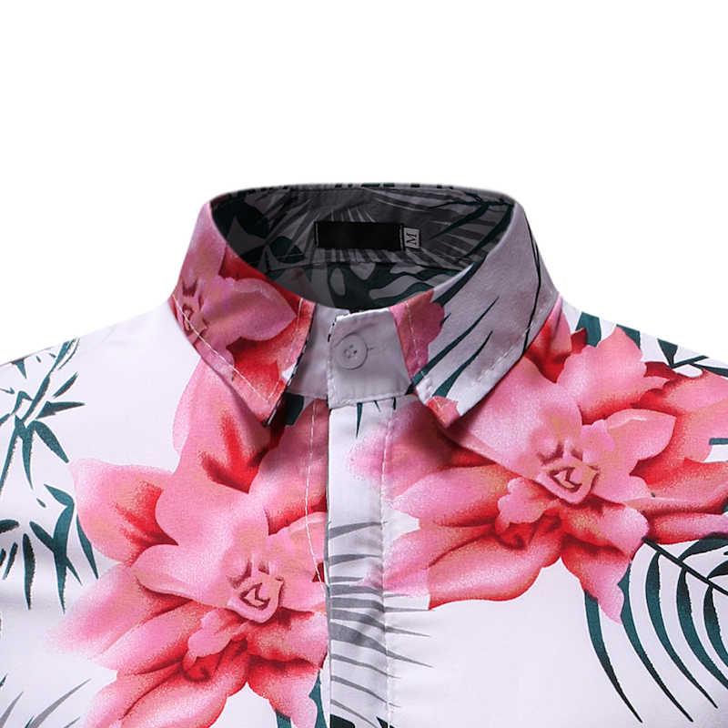 Мужская хипстерская гавайская рубашка с цветочным принтом 2019 летняя модная тропическая Мужская рубашка навыпуск с ярким рисунком Мужская s вечерние рубашки для отдыха 3XL