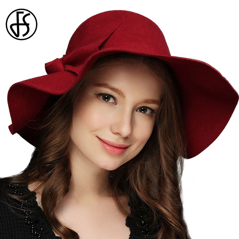 8b56260c045 FS Vintage Large Wide Brim Wool Felt Fedora Hat Winter Women Flowers Black  Khaki Wine Red With Mesh Church Bowler Derby Hats