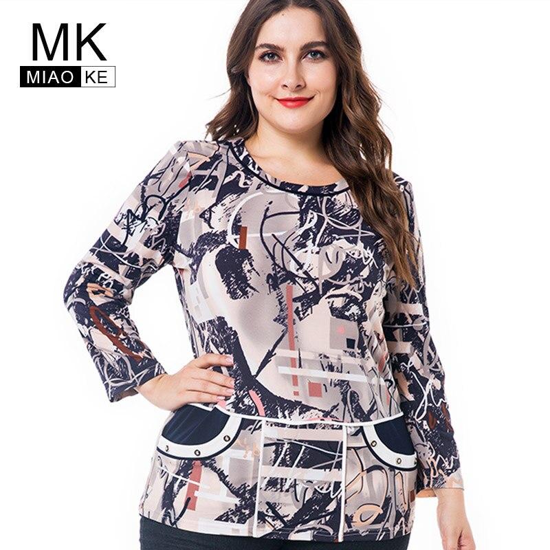 Miaoke Langarm T Shirts Frauen 2018 Herbst Kleidung damen Mode Übergroßen Vintage gestreiften Graphic Tees Plus Größe Tops