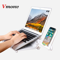 Vmonv ABS Multifunction Adjustable Laptop Stand Holder for Macbook Lenovo ASUS HP 11 17 inch Notebook Tablet Phone Cooling Stand