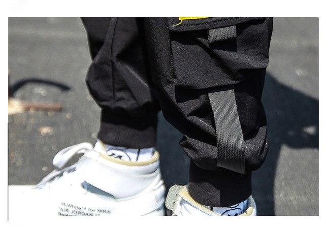 Spring Hip Hop Joggers Men Black Harem Pants Multi-pocket Ribbons M-3XL 4