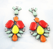 New Fashion Flower Resin Earrings Jewelry 2015 Luxury Statement Earring Latest Cheap Vintage Design Earrings For Women