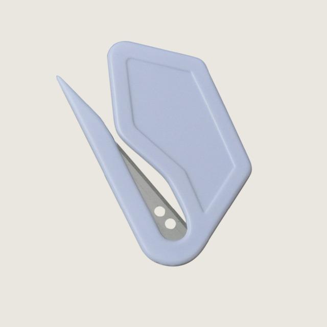 10 unidades/pacote de correio de plástico abridor de carta branca forma trapezoidal com sharp lâmina de segurança guardado de papel cortador de lâmina ferramenta de bolso