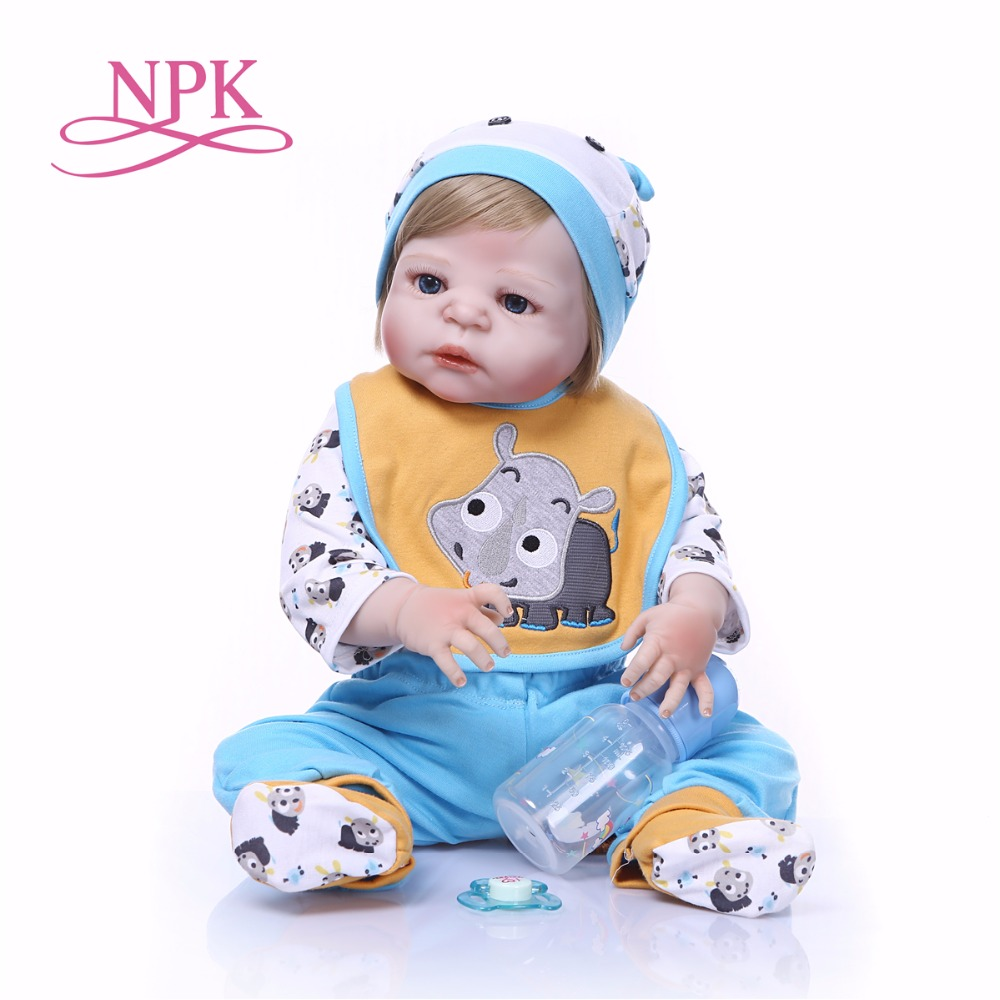 57CM NPK Boneca Reborn blue little rhino Full Vinyl Reborn Baby Doll Toys Lifelike Child Birthday
