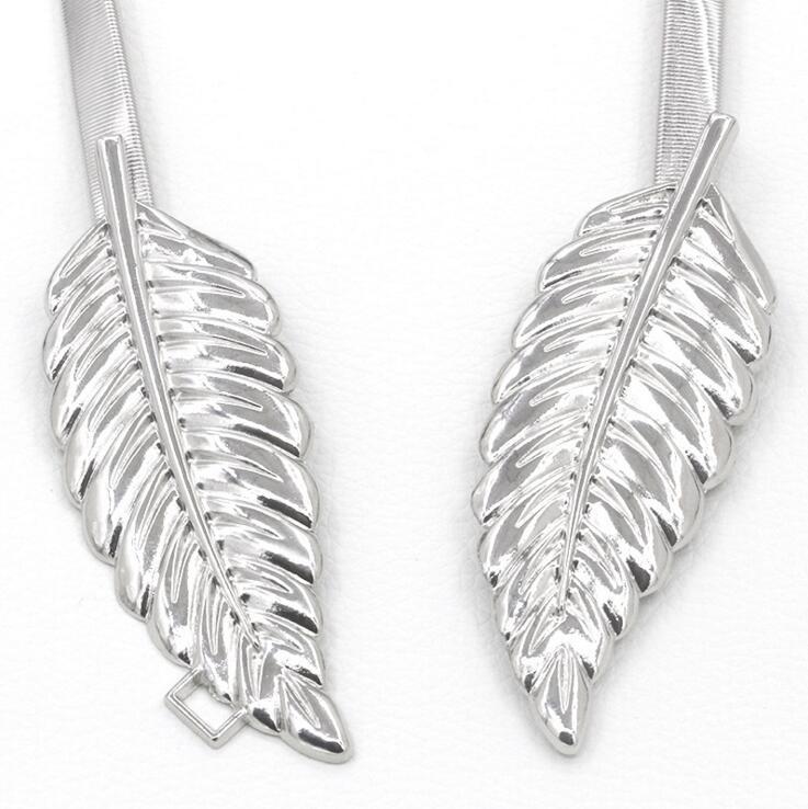 gold silvery leaf shape Wedding designer Elastic belts Stretch Skinny Waist Belt Cummerbunds metal Bridal Belt ZA023 3