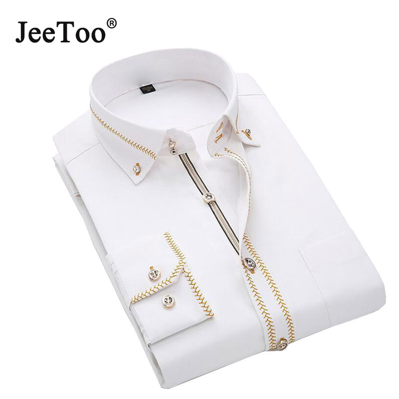 French Mens Shirts Long Sleeve Male Tuxedo Shirt Cotton Mens Dress Shirts Slim Fit White Black Wedding Shirt Men Chemise Homme