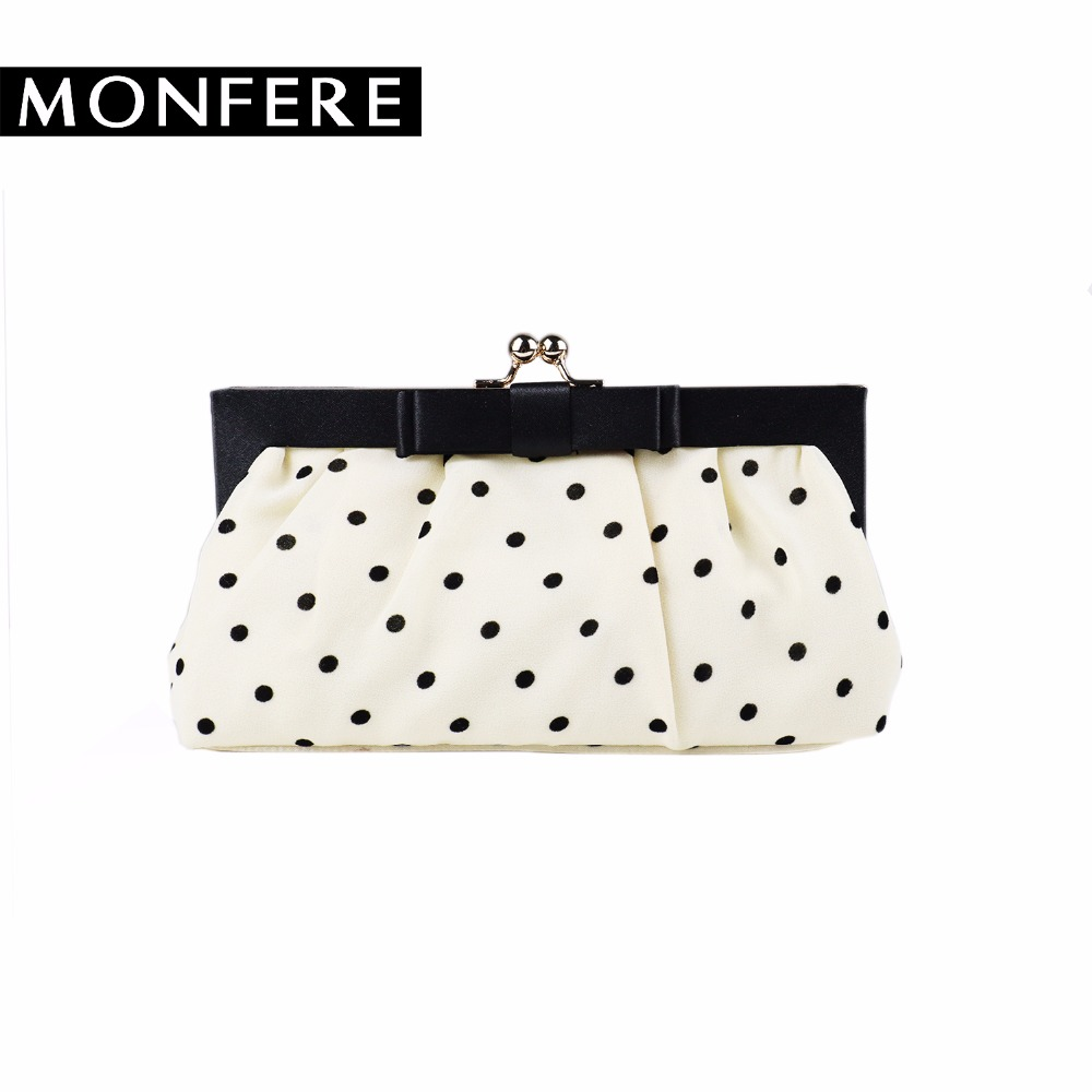 MONFER polka dot day clutch BOW silk like frame evening bags  women handbag small party vintage crossbody bag ladies chain purse 2015 new arrival acrylic bow clutch bag day storage box clutch bags women handbag brand designer transparent chain women wallets