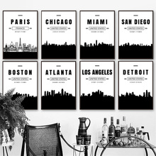Paris Miami Chicago Boston Atlanta Detroit City Map Wall Art Canvas Painting Nordic Posters And Prints Pictures Living Room