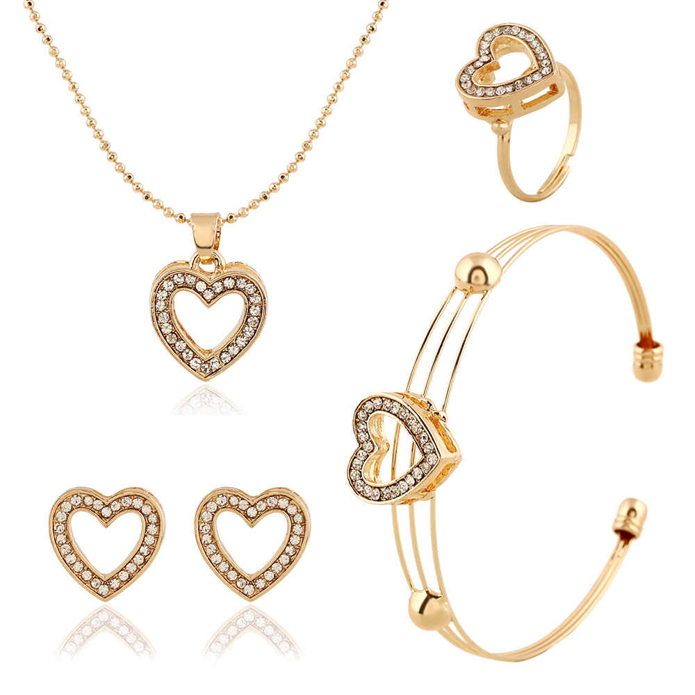 New Arrival Jewelry Gold-Color Crystal Rhinestone Heart Charm Pendant Necklace Earrings Bangle Jewelry Set For Women
