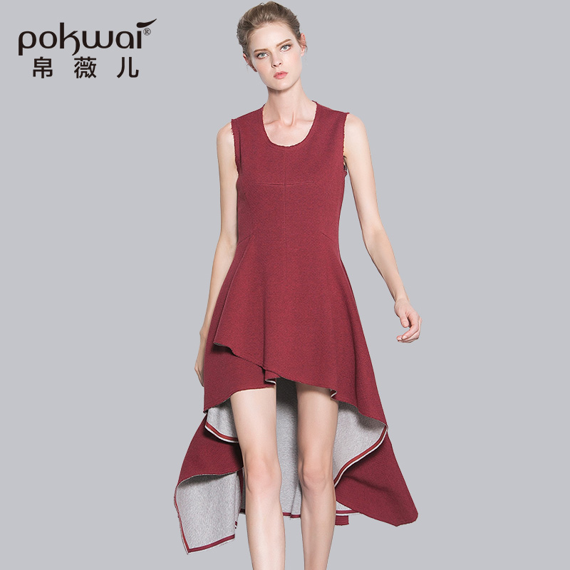 POKWAI Long Casual Autumn Cotton Dress Women 2017 Luxury Brand Quality  Clothing Sleeveless Empire Solid One-Piece Tank Dresses