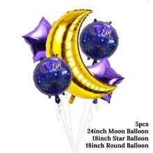 5pcs Ramadan Decor  Balloons Purple EID Round Balls Gold Moon Balloon Islamic Muslim Mubarak Decoration Party Supplies