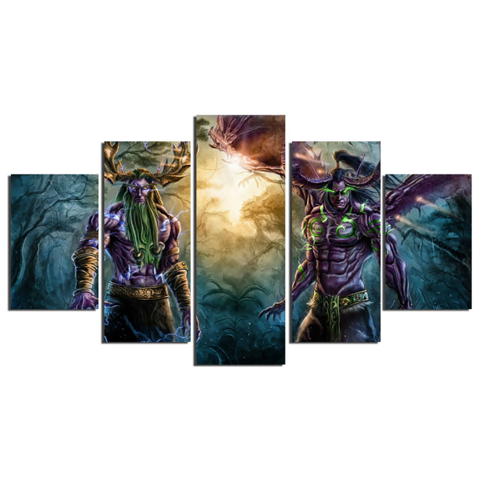 Wall Art Modular Posters Home Decor Living Room 5 Panel Game Character Framework HD Printed Modern Canvas Pictures Painting  1