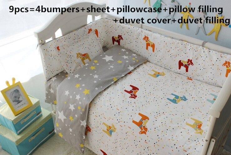 9PCS Full Set Crib Bedding Set,baby Furniture,Toddler Baby Bed Linens Cotton Bedclothes Cercado Bebe ,4bumper/sheet/pillow/duvet