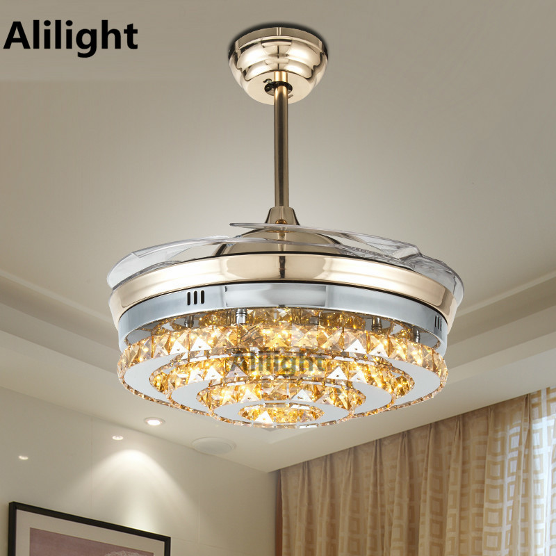 modern nickel led invisible crystal ceiling fans with