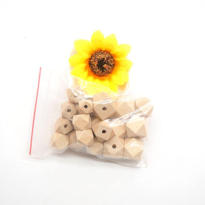 Купить с кэшбэком Chenkai 100PCS 10mm Wooden Beads Baby Teething Beads Wood Hexagon Beads Baby Teethers For baby care Toys Jewelry Making