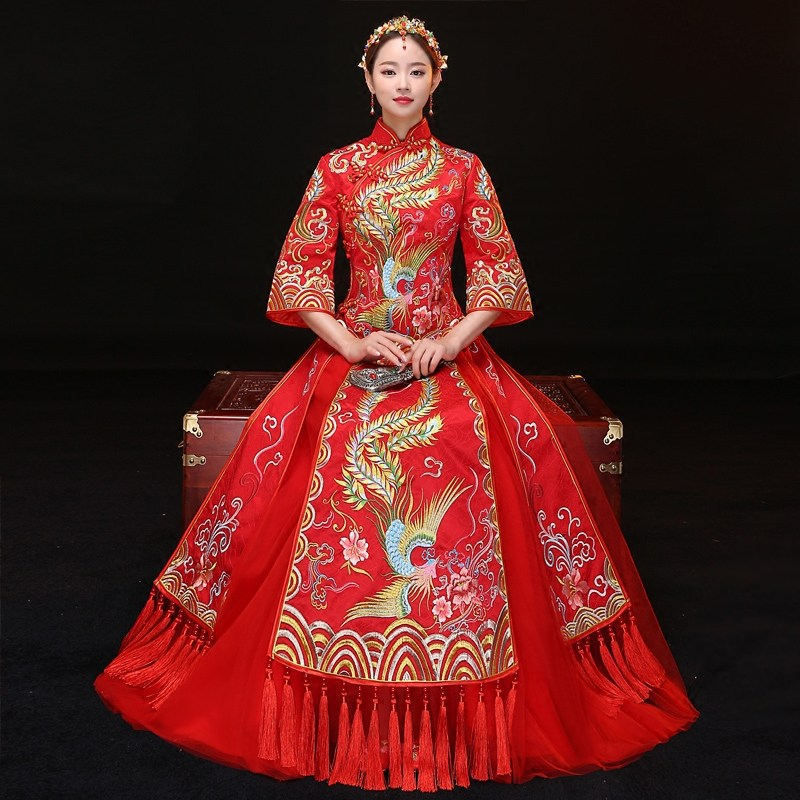 Oriental Evening Dresses Phoenix Embroidery Red Chinese