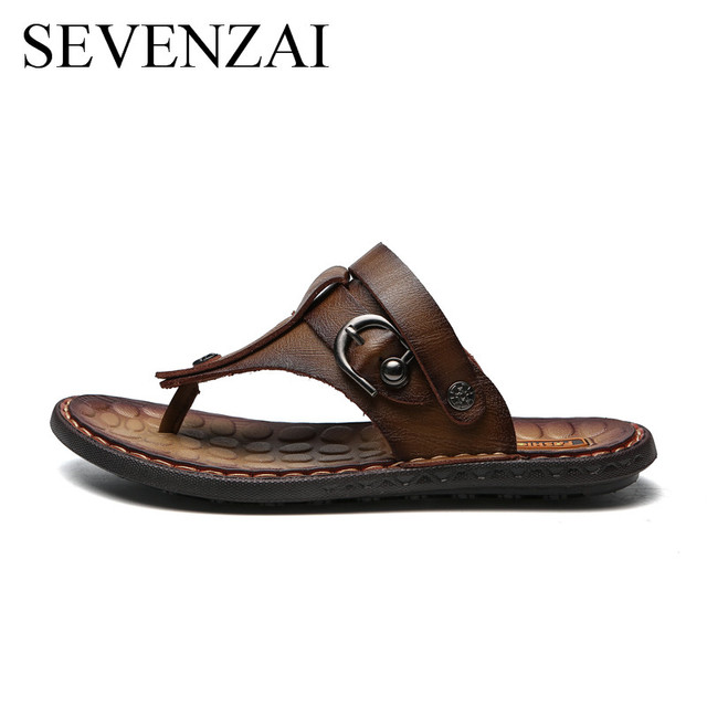 68fd80fccb4a3 Summer Men 2018 formal Shoes leather slides Breathable italian Buckle Flip  Flops Outdoor Shoes moccasins Male footewear Slippers