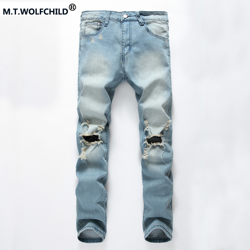 NEW style men Biker jeans ripped denim slim motorcycle pant men classic rap hip hop skinny casual winter stretch blue jeans 2017 skinny jeans men white ripped jeans for men fashion casual slim fit biker jeans hip hop denim pants motorcycle c141