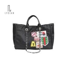 Super Big Casual Tote Bag Women Shopper Travel Style Canvas Laptop Bag Chain Strap Applique Designer Handbags Large Shoulder Bag