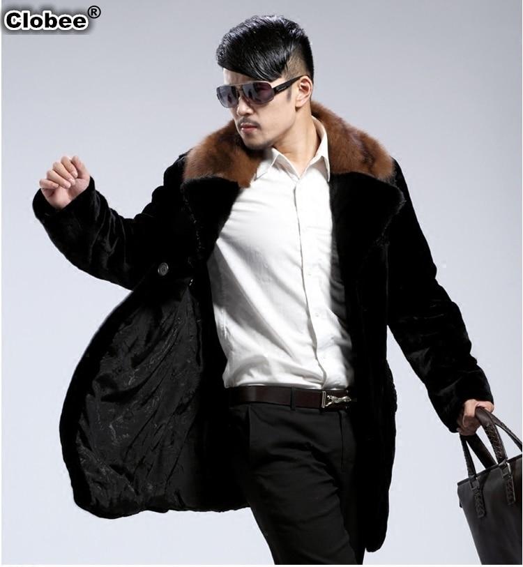 New arrival Faux Fur collar Jacket Men 2017 Winter Thicken outerweaar long sleeve Parka coats plus size Men Warm Clothing WR641