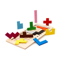 Baby Learning Educational Wooden Toys Puzzle Jigsaw Board Shape Tetris Matching Enlightenment Kids Gifts 4070